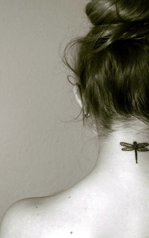 small dragonfly tattoo design idea on back neck for females