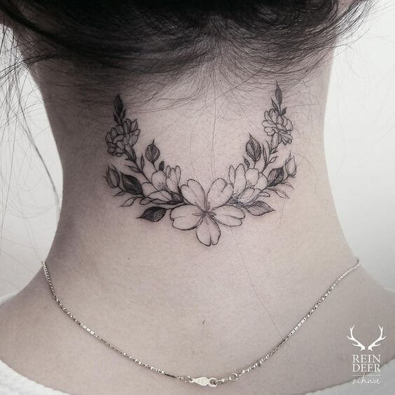 string of beautiful flowers tattoo design idea on back neck for women