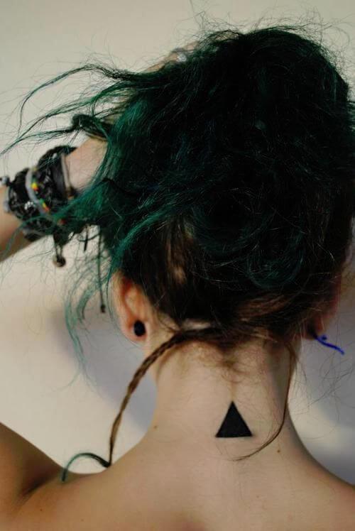 black triangle tattoo design idea on back for females