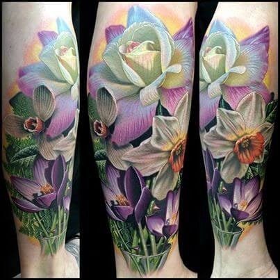 beautiful colors narcissus flowers field tattoo design