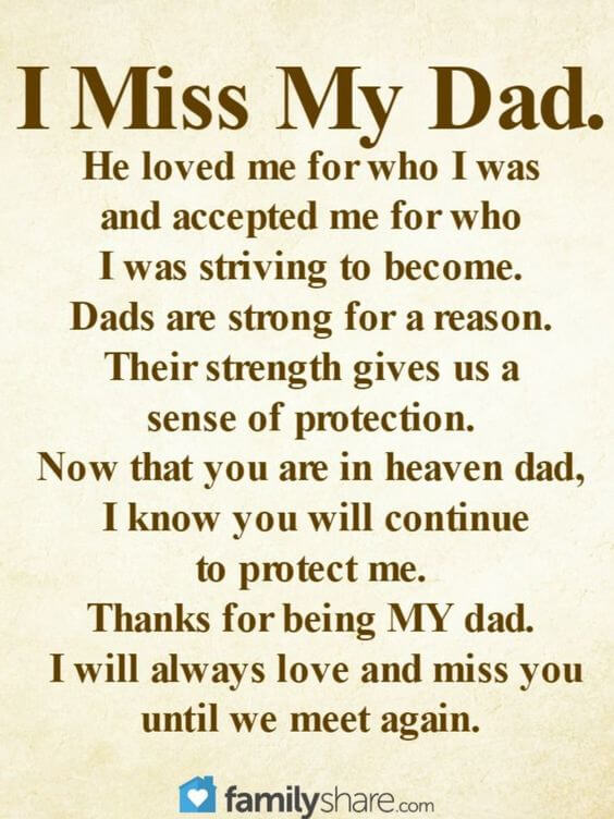 i miss my dad in heaven quote