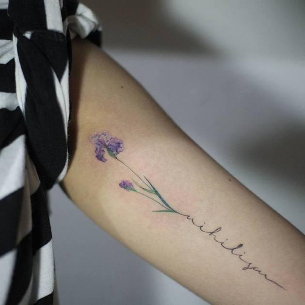 purple iris flower signature tattoo design on forearm