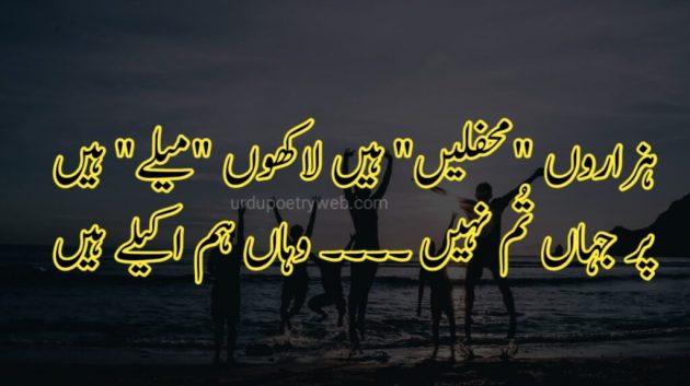 hazaro mehfil hai urdu poetry image for best friend