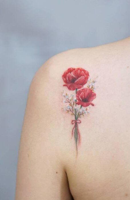 august birth poppy flowers bouquet tattoo design on back shoulder for women