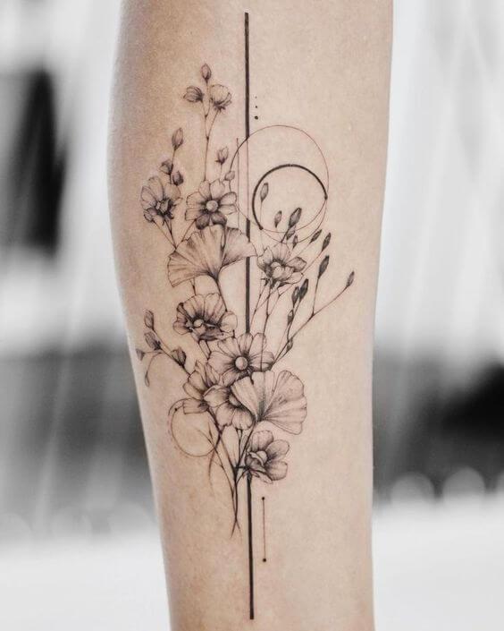 geometric bunch of gladiolus august flowers tattoo design