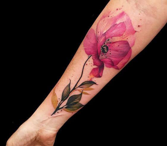 watercolor 3d august flower poppy tattoo design on forearm for females