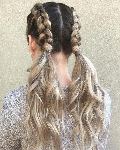 double pony dutch braided hair style