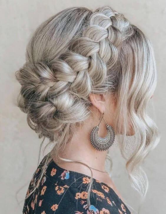 dutch braid hair updo style