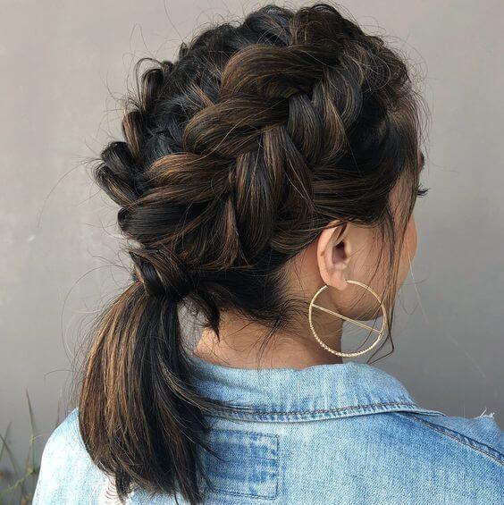 dutch braid ponytail hairstyle for medium hair