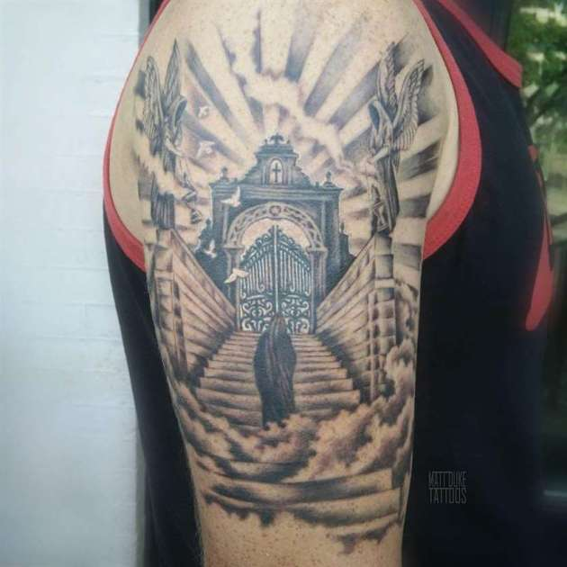 welcoming angels to gates of heaven tattoo design on upper sleeve
