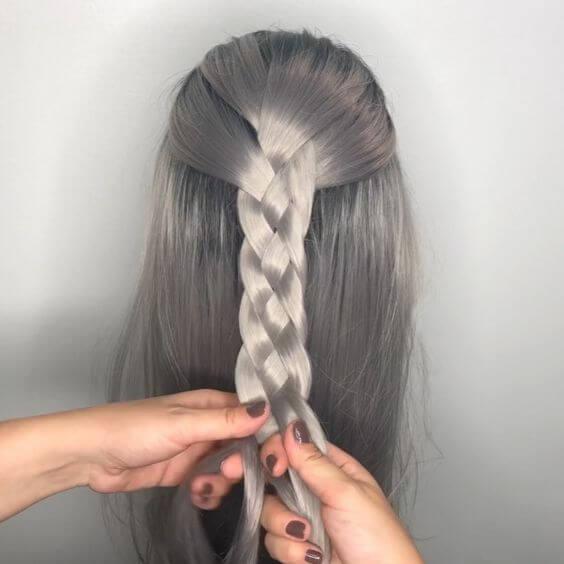 four strand braid hairdo