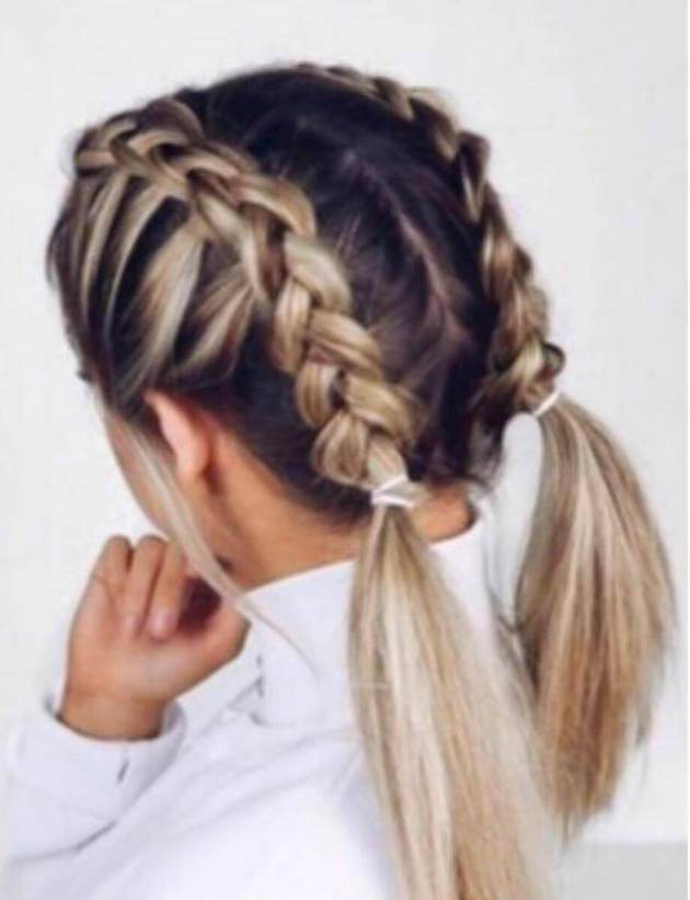 two french braids hair style