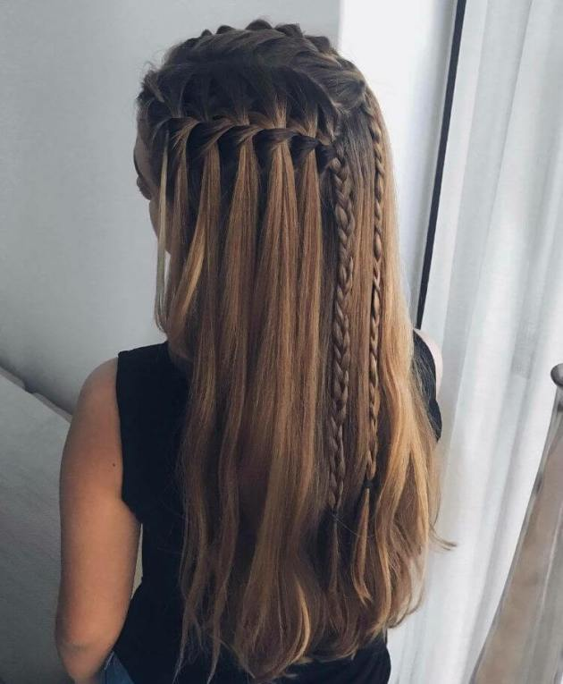 waterfall braid with strand braids hair style for girls