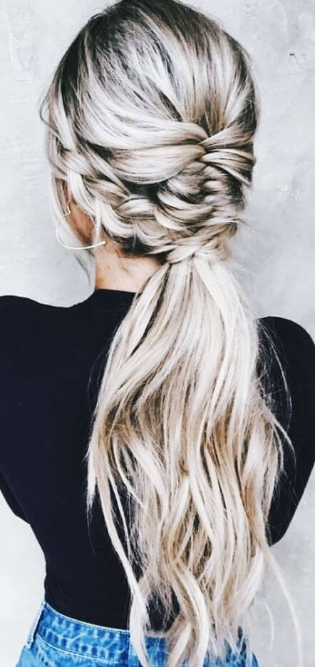 fish braid pony hair style