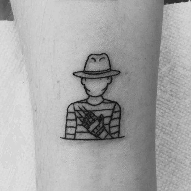 Freddy Krueger minimal outline tattoo design