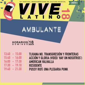 Vive Latino 2018 - Ambulante Horarios