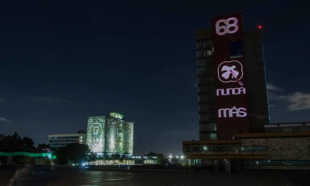"""""""68, Nunca más"""". UNAM rinde homenaje a las víctimas"""