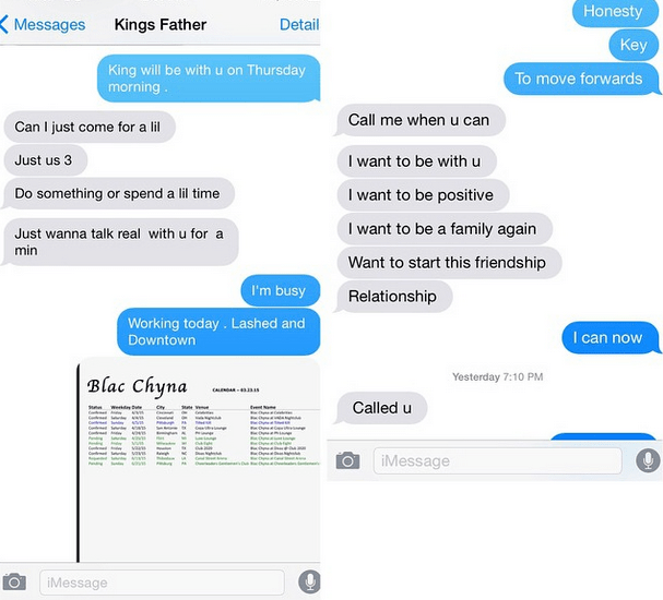 Tyga and Blac Chyna texts