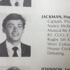 Hugh Jackman yearbook photo one at Pinterest.com at Pinterest.com
