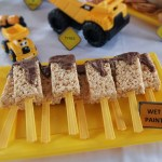 Construction themed birthday party - Paint Brush Rice Crispy Squares