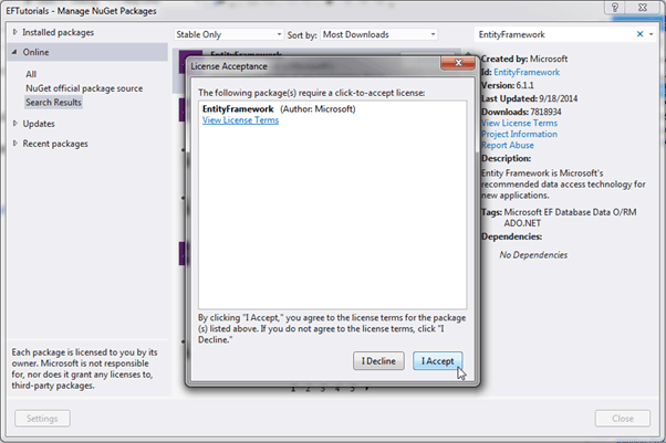 Entity Framework install