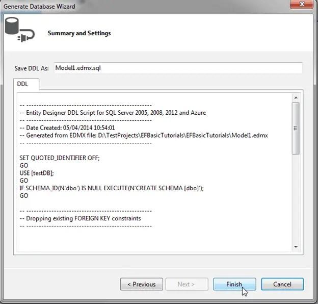 Entity Framework Model first
