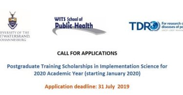 Apply For WHO/TDR 2020 Postgraduate Training Scholarships in Implementation Science At University of the Witwatersrand