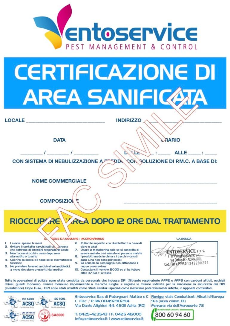 certificazione sanificazione da coronavirus