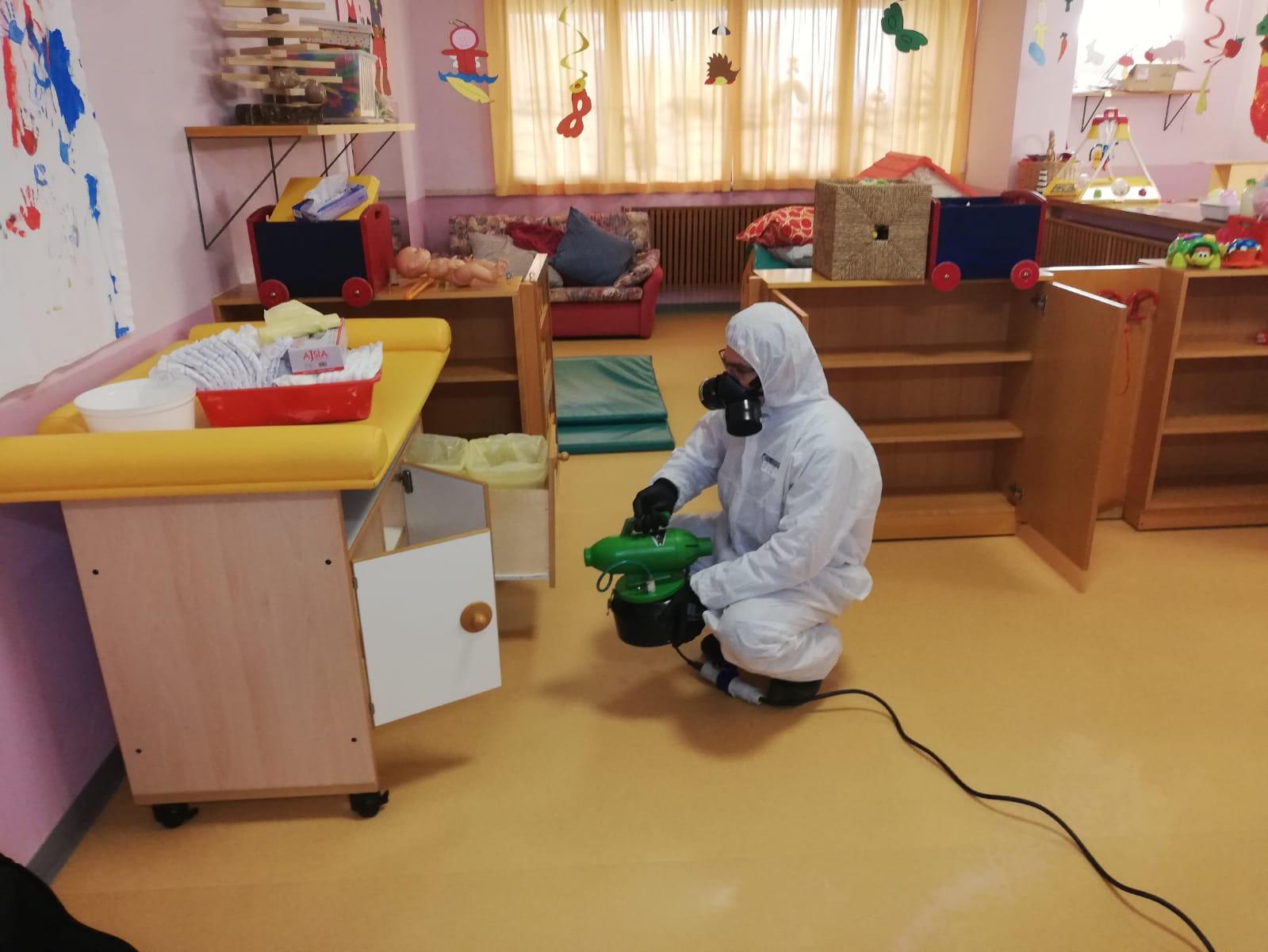 servizio di disinfezione di strutture pubbliche e asili
