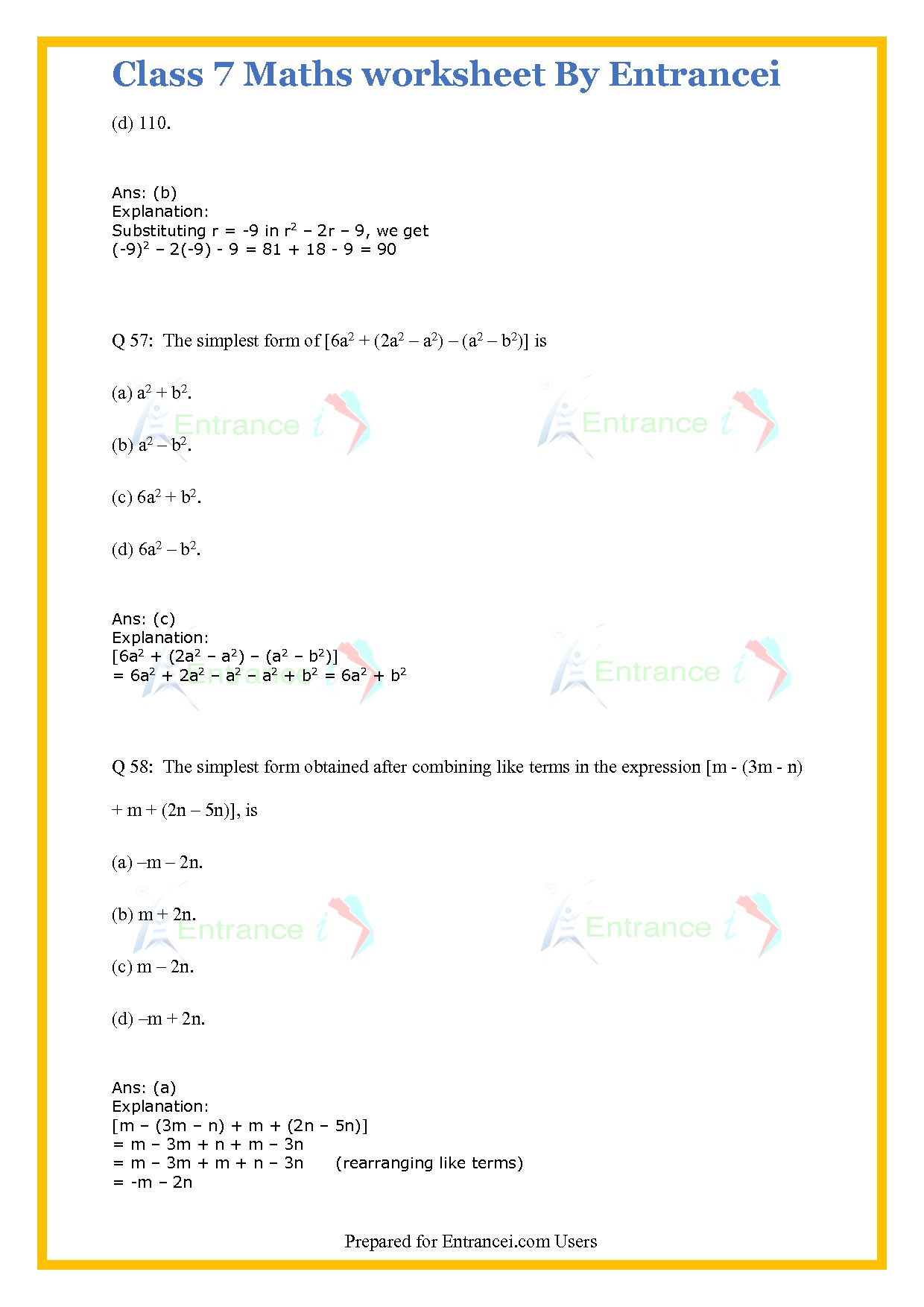 Cbse Class 7 Maths Worksheet For Chapter 12 Algebraic