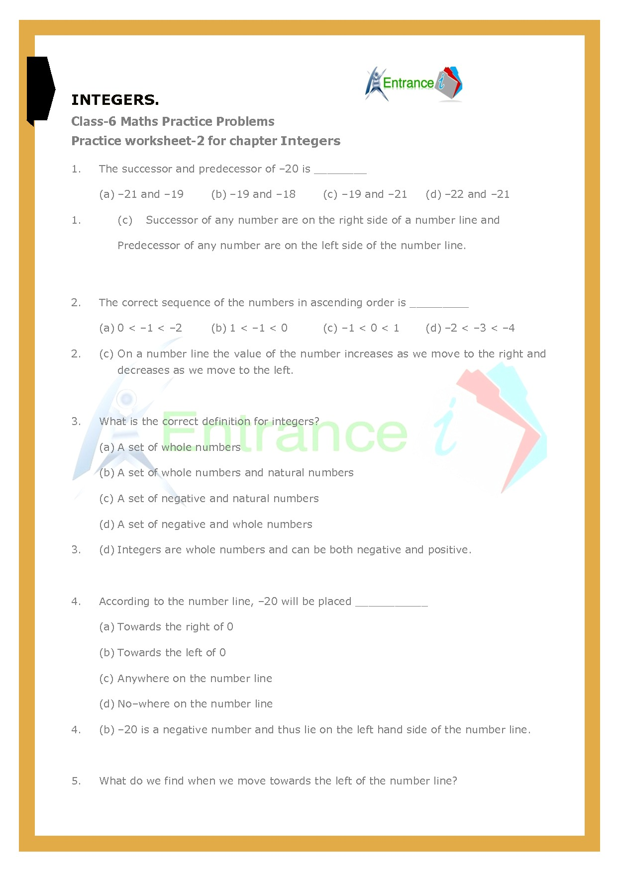 Worksheet 2 For Chapter Integers Class 6 Maths