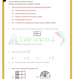 Worksheet-3 for chapter Fractions class 6 Maths   Entrancei [ 1754 x 1240 Pixel ]