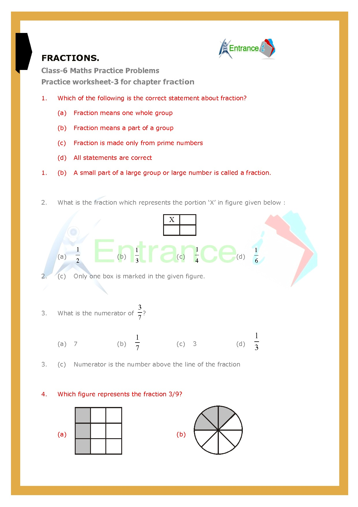 hight resolution of Worksheet-3 for chapter Fractions class 6 Maths   Entrancei