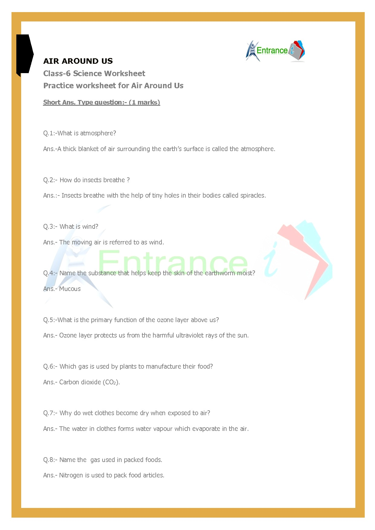 Class 6 Science Worksheets Chapter 15 Air Around Us