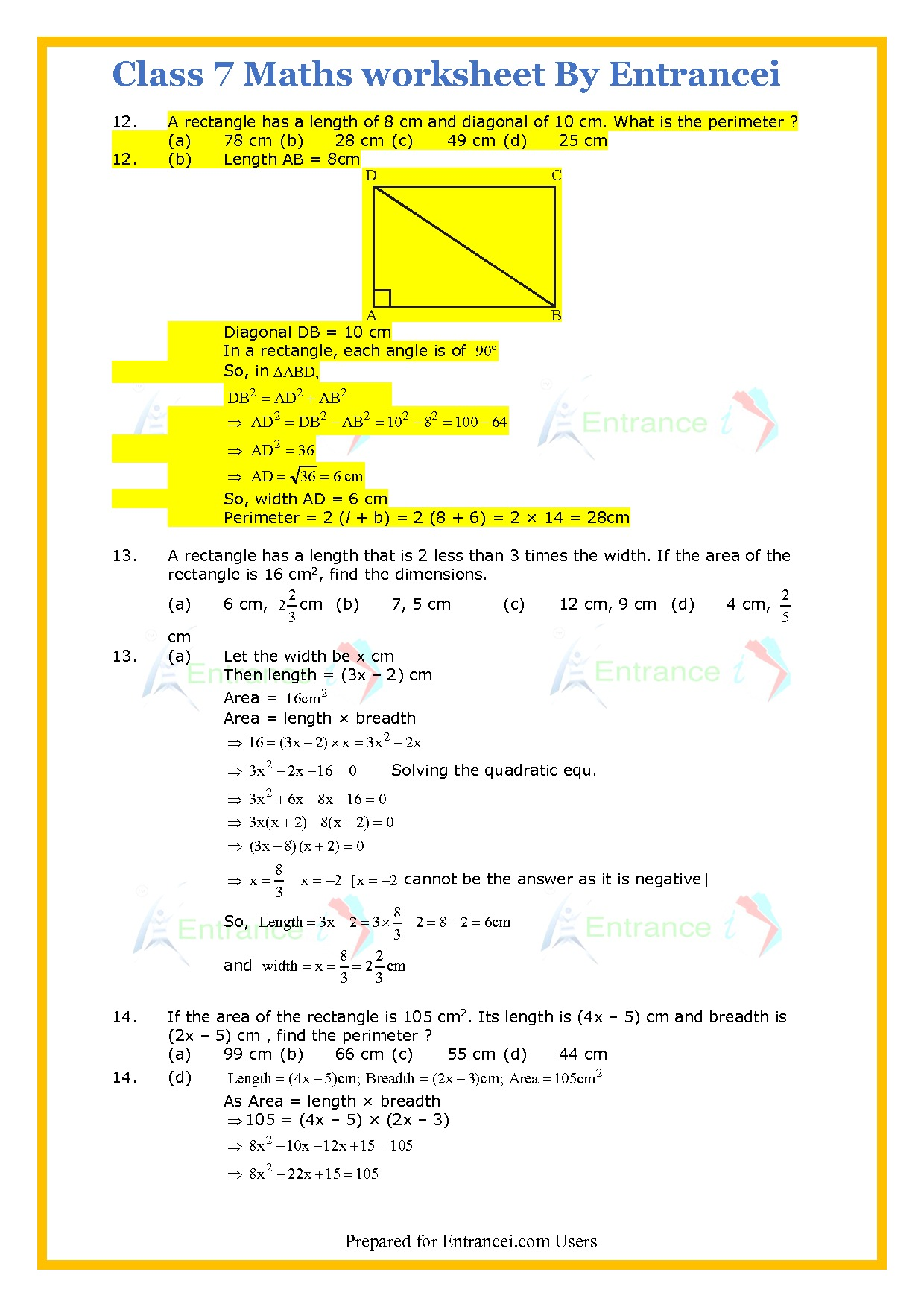 Cbse Class 7 Maths Worksheet For Chapter 11 Area And Perimeter