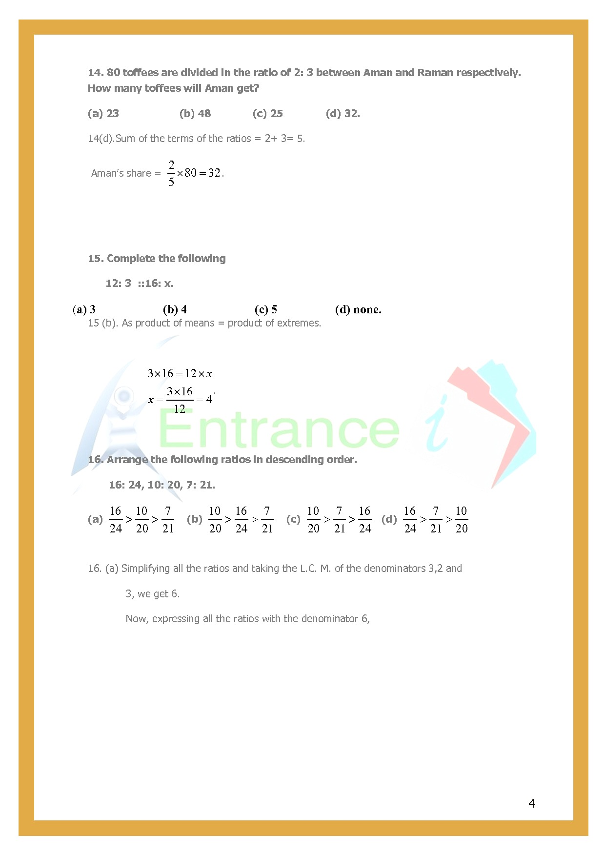 Class 6 Maths Chapter 12 Ratio And Proportion Worksheet 1