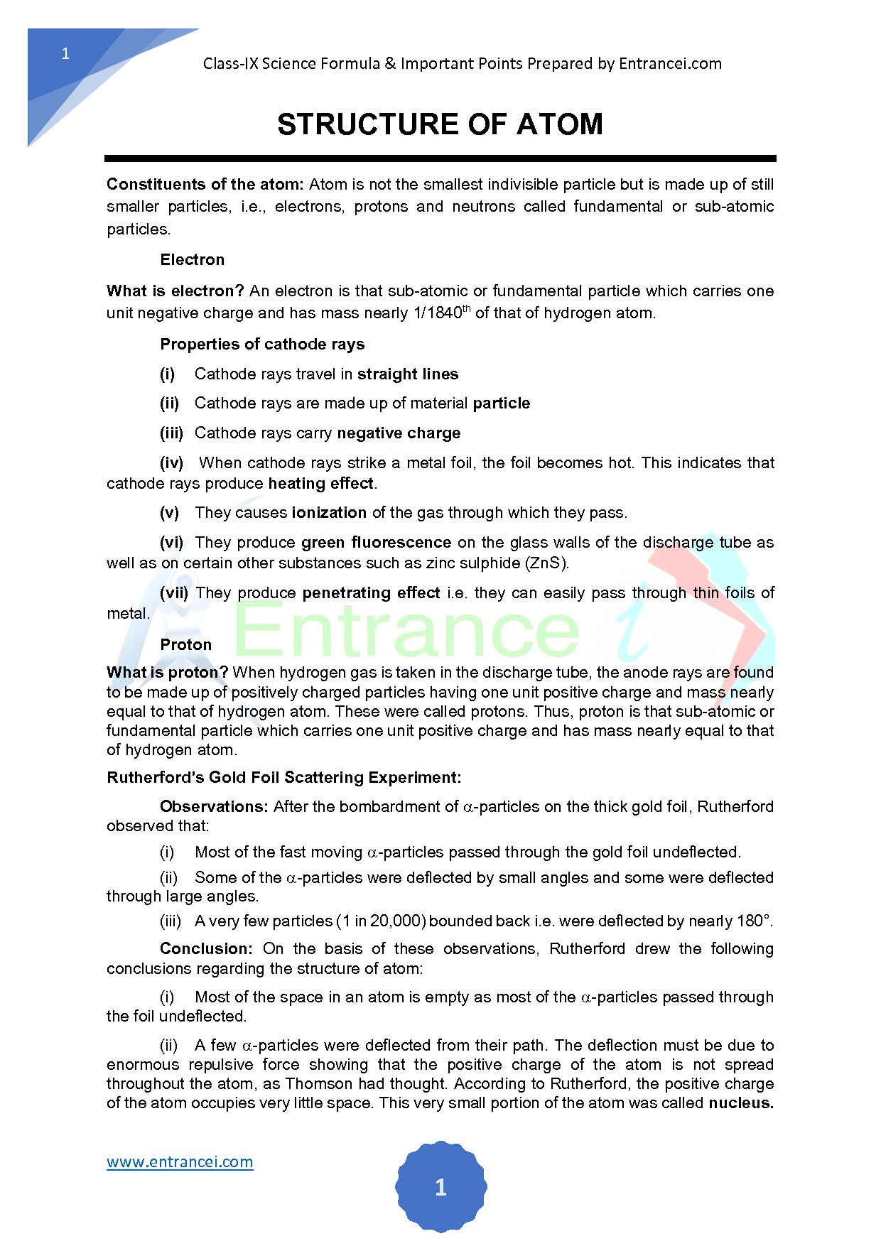 hight resolution of Important points and formula of chemistry for class 9 chapter-Structure of  Atom