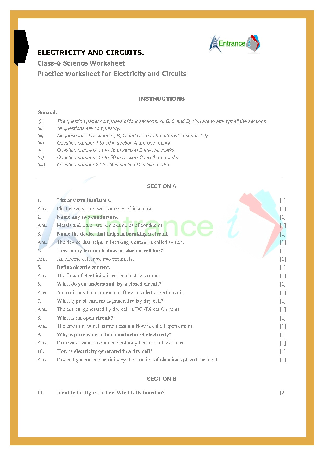 hight resolution of class 6 science worksheets Chapter 12-Electricity and Circuits