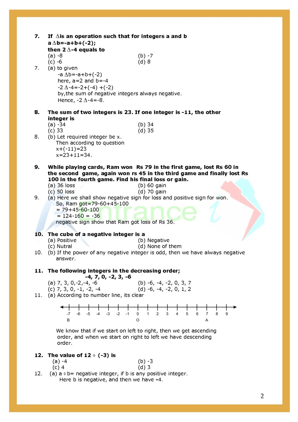 medium resolution of Worksheet-1 for chapter Integers class 6 Maths   Entrancei