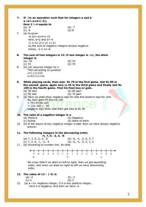 small resolution of Worksheet-1 for chapter Integers class 6 Maths   Entrancei