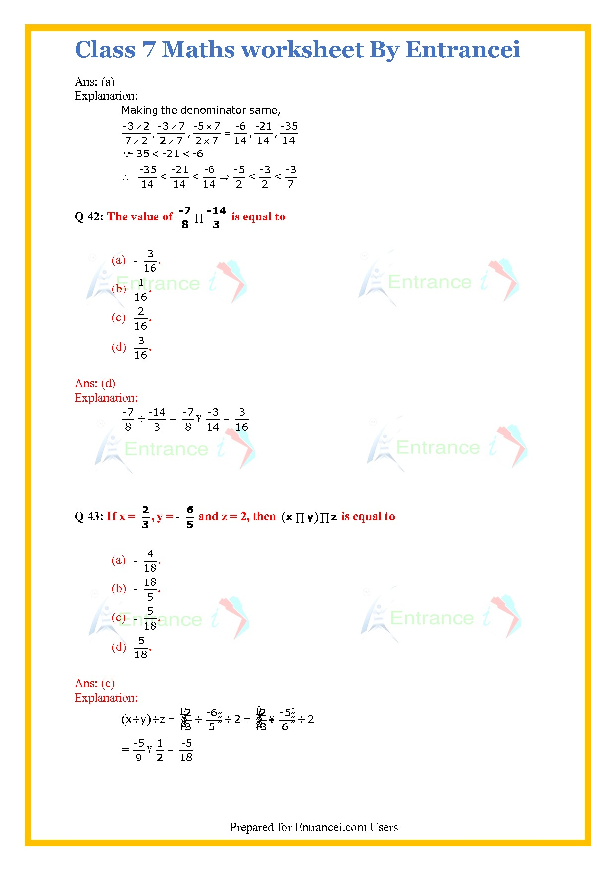 hight resolution of Rational Numbers Class 7 Worksheet   Printable Worksheets and Activities  for Teachers