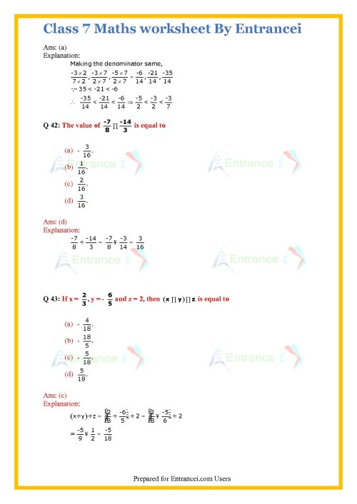 small resolution of Rational Numbers Class 7 Worksheet   Printable Worksheets and Activities  for Teachers