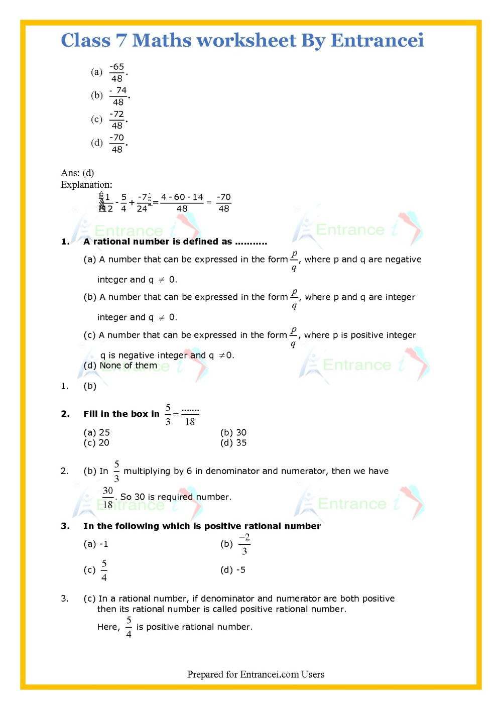 medium resolution of Class 7 Rational Numbers Worksheet   Printable Worksheets and Activities  for Teachers