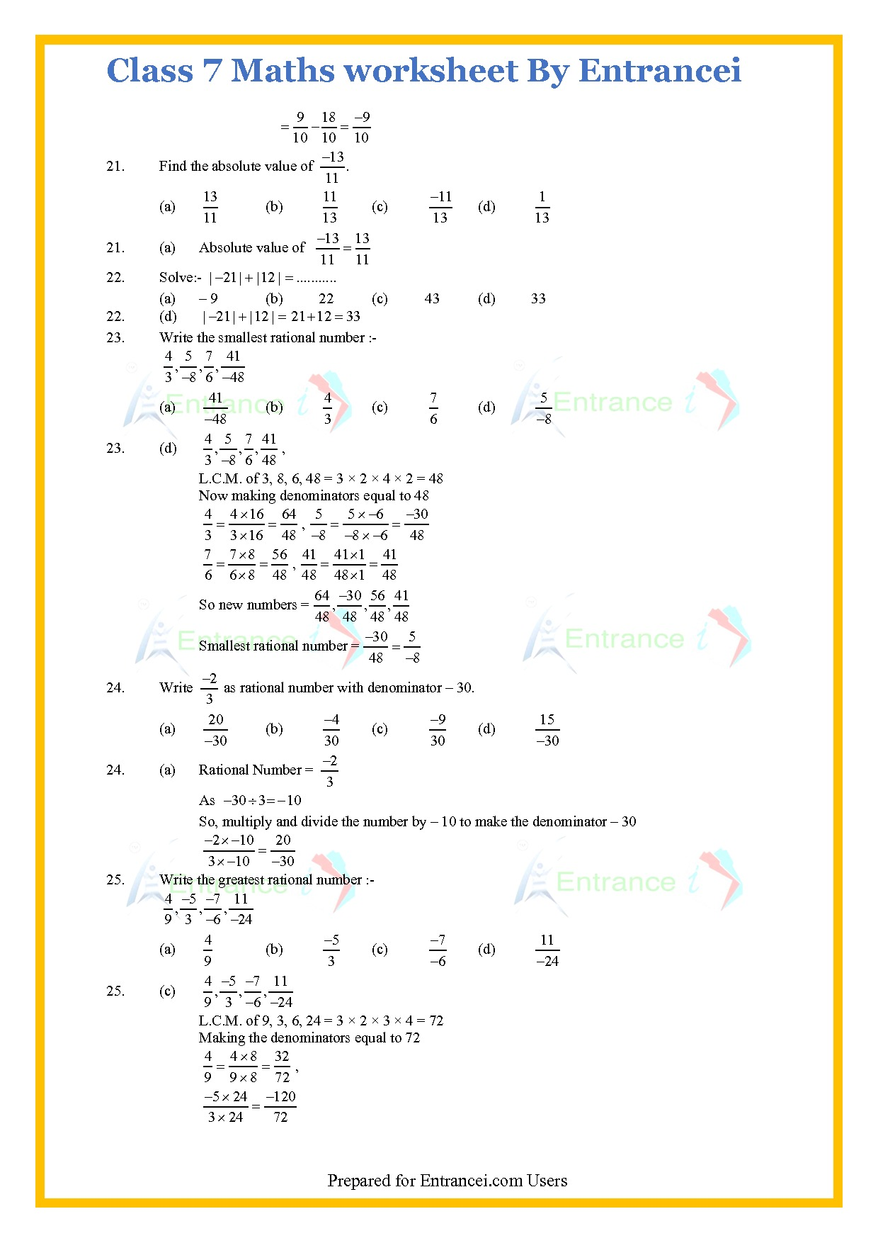 Cbse Class 7 Maths Worksheet For Chapter 9 Rational Numbers