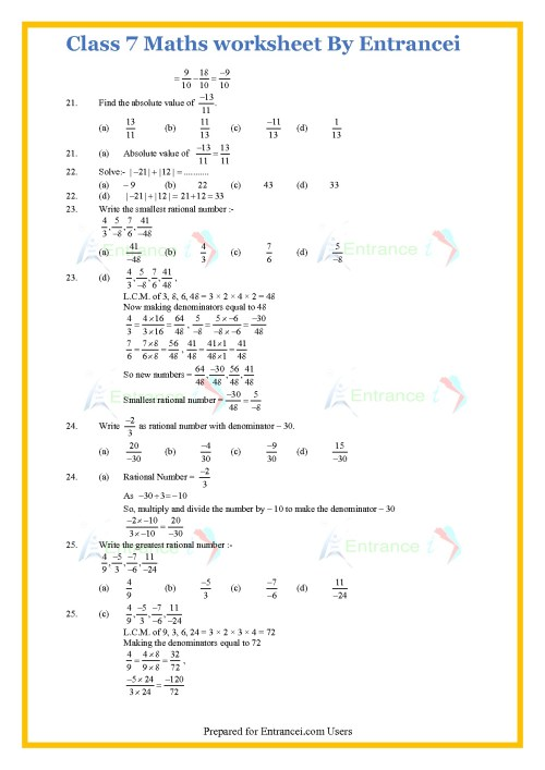 small resolution of CBSE Class 7 Maths worksheet for chapter-9 Rational Numbers