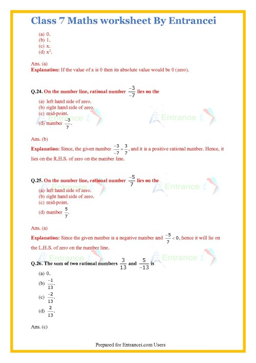 small resolution of Class 7 Rational Numbers Worksheet   Printable Worksheets and Activities  for Teachers