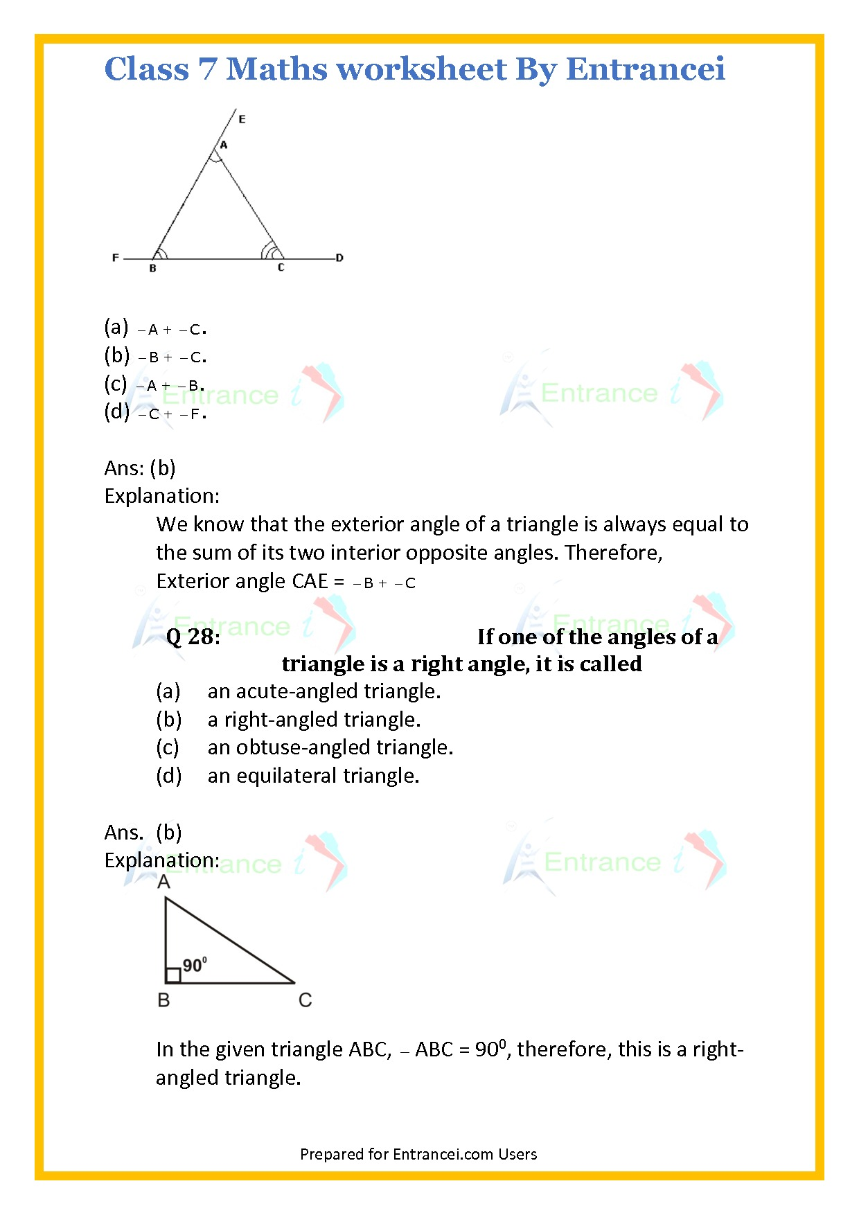 Cbse Class 7 Maths Worksheet For Chapter 6 Triangle And