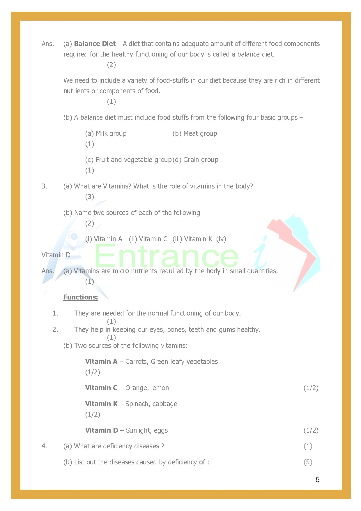 Chapter 2 Components Of Food Worksheet For Class 6 Science