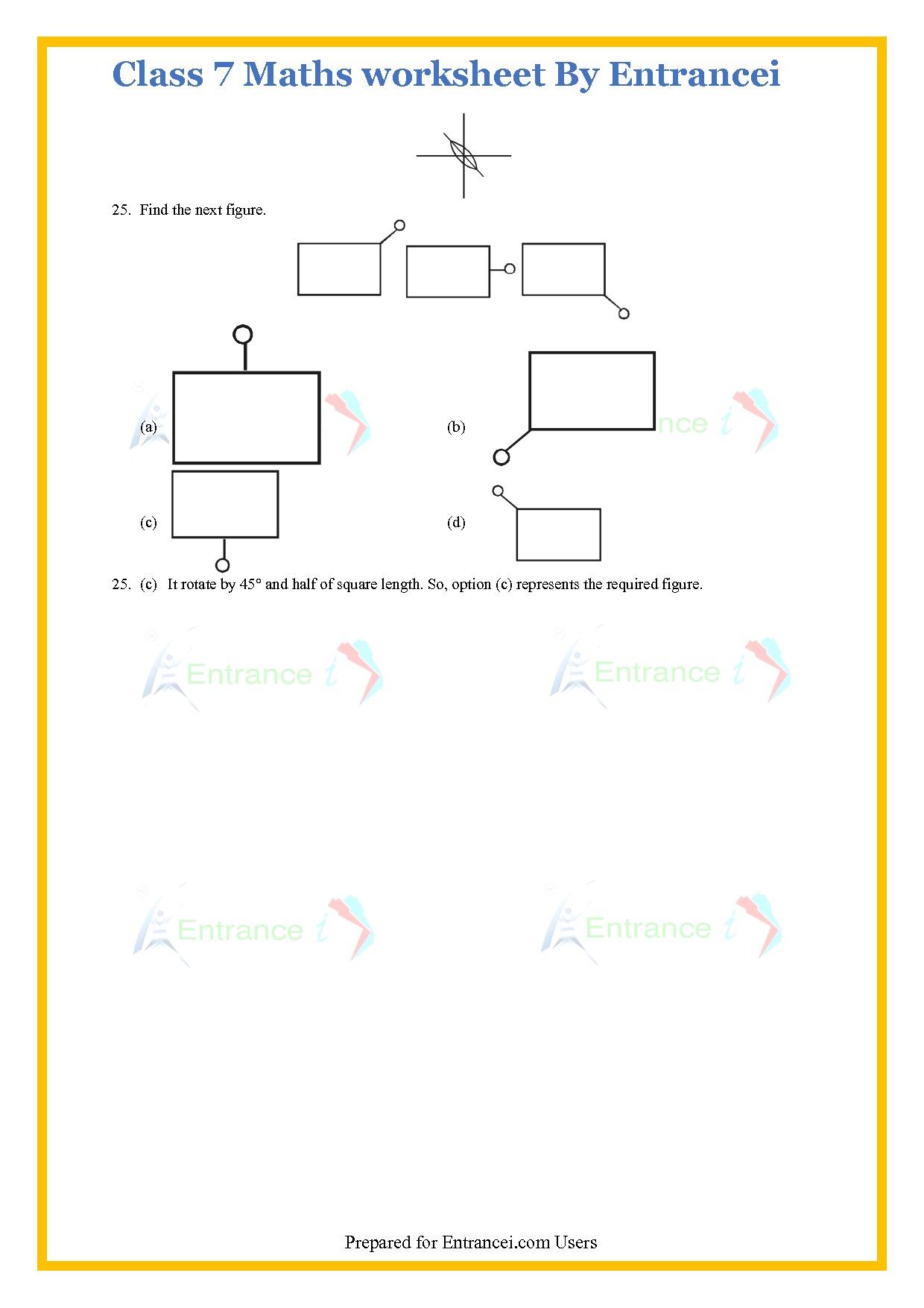 Cbse Class 7 Maths Worksheet For Chapter 14 Symmetry