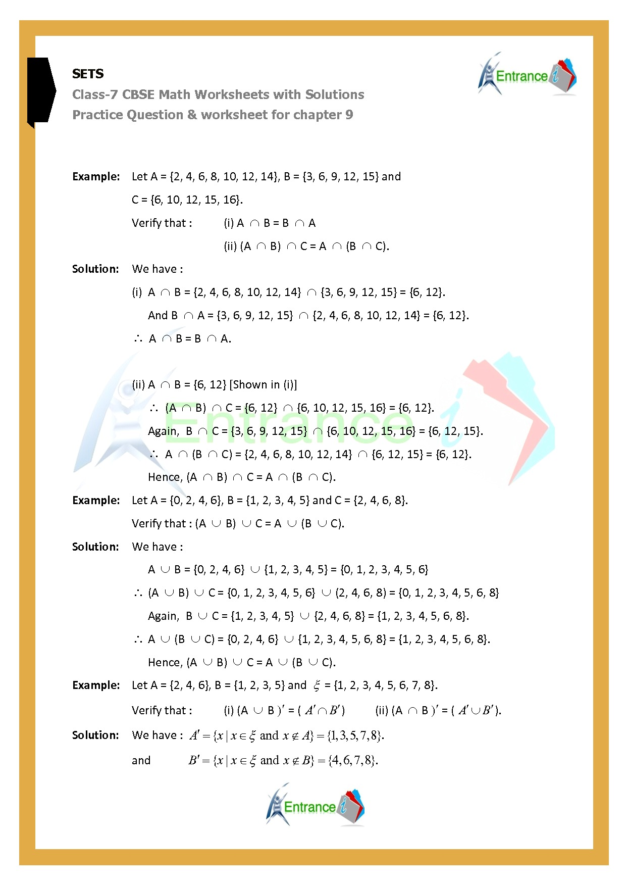 Worksheet For Class 7 Maths For Chapter 9 Sets